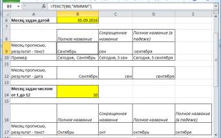 Excel как преобразовать дату в месяц