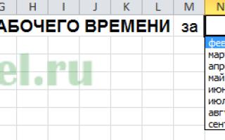 Excel табель рабочего времени