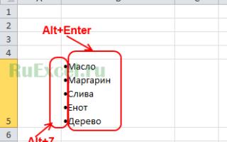 Excel как поставить enter в ячейке